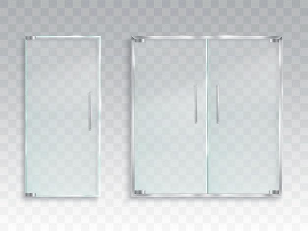 Ilustração realista do vetor de um layout de uma porta de vidro de entrada com alças de metal Vetor grátis