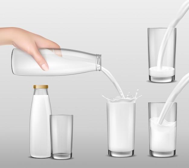 Ilustração realista do vetor, mão segurando uma garrafa de vidro de leite e leite despejando em copos Vetor grátis
