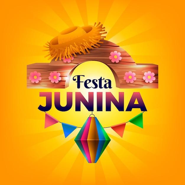 Ilustração realista festa junina Vetor Premium