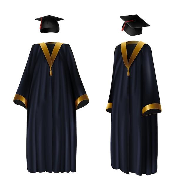 Ilustração realística da roupa, do vestido e do tampão da graduação. terno tradicional da escola Vetor grátis