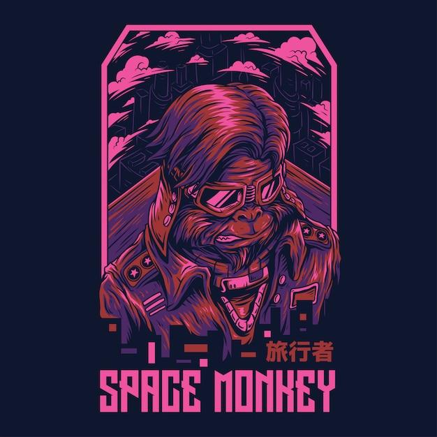 Ilustração remasterizada do macaco do espaço Vetor Premium