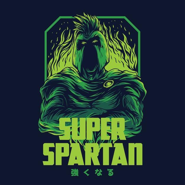 Ilustração remasterizada super espartano Vetor Premium