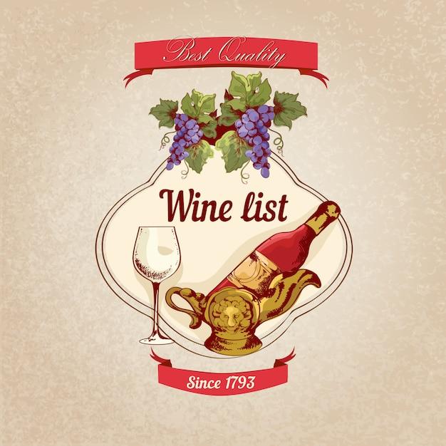 Ilustração retrô de carta de vinhos Vetor grátis