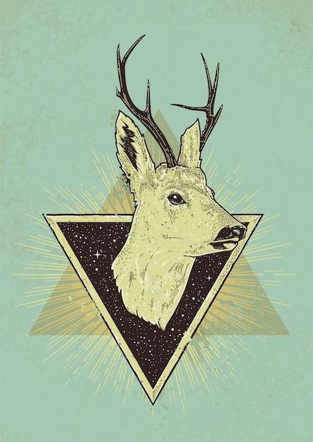 Ilustração retro de cervo com triângulos Vetor grátis
