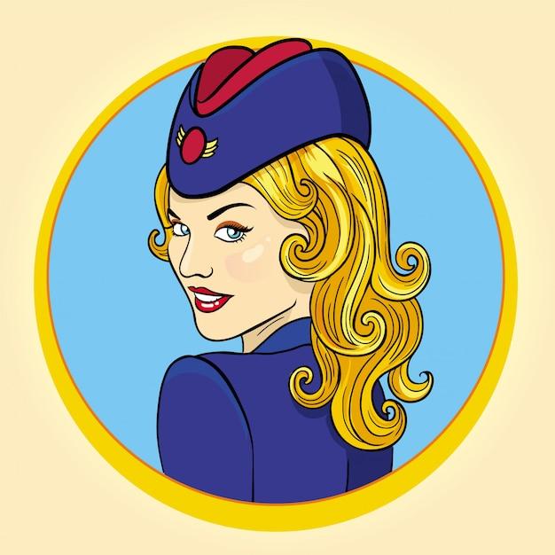 Ilustração retro do estilo da aeromoça de ar. aviador mulher. Vetor Premium
