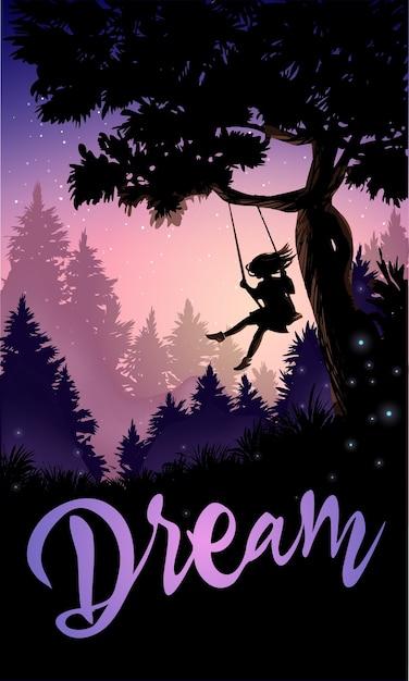 Ilustração romântica inspiradora. menina em um balanço de árvore. Vetor Premium