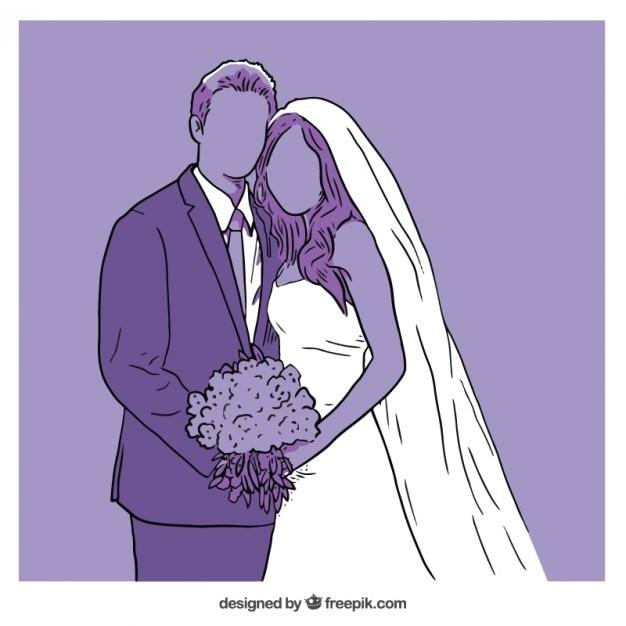 Ilustração roxa do casamento Vetor grátis