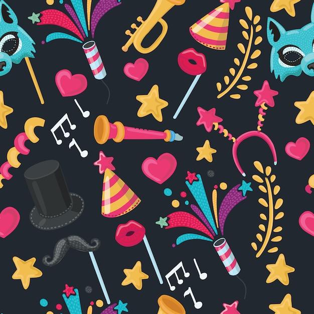 Ilustração seamless pattern of party objects, wallpaper for holidays - Vetor Premium
