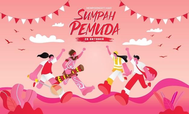 Ilustração. selamat hari sumpah pemuda. tradução: feliz compromisso da juventude da indonésia. adequado para cartão de felicitações, cartaz e banner Vetor Premium