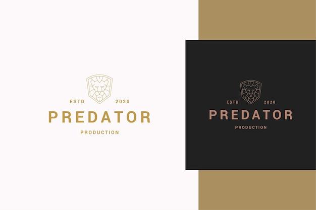 Ilustração simples do contorno do modelo do emblema com cabeça geométrica de leão Vetor Premium