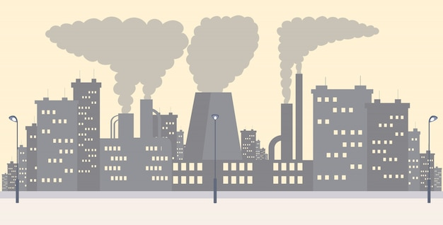 Ilustração simples plana da paisagem urbana do distrito industrial. planta que emite fumaça, resíduos de gás e poeira dos desenhos animados de fundo. poluição do ar urbano, contaminação do ambiente com emissões perigosas, problema de co2 Vetor Premium