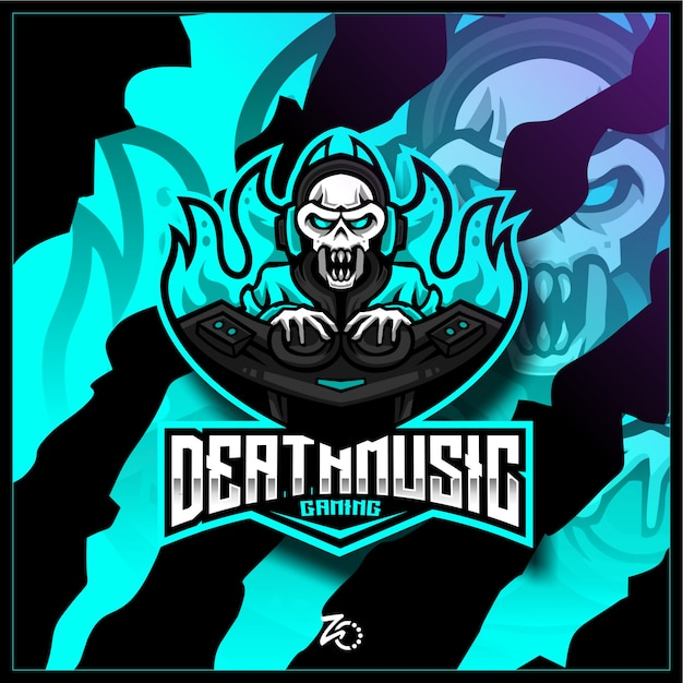Ilustração skull music gaming Vetor Premium