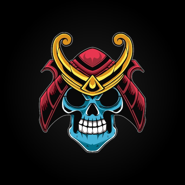 Ilustração skull samurai mecha Vetor Premium
