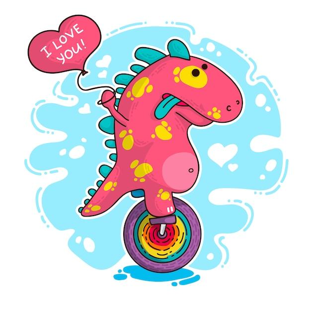 Ilustração sobre dinossauro apaixonado Vetor Premium