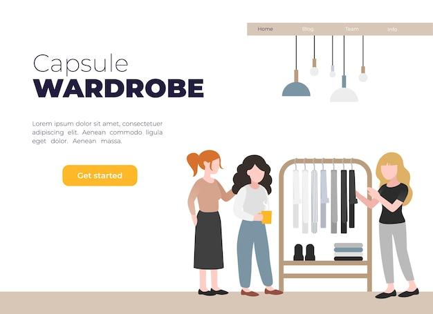 Ilustração sobre guarda-roupa cápsula. Vetor Premium