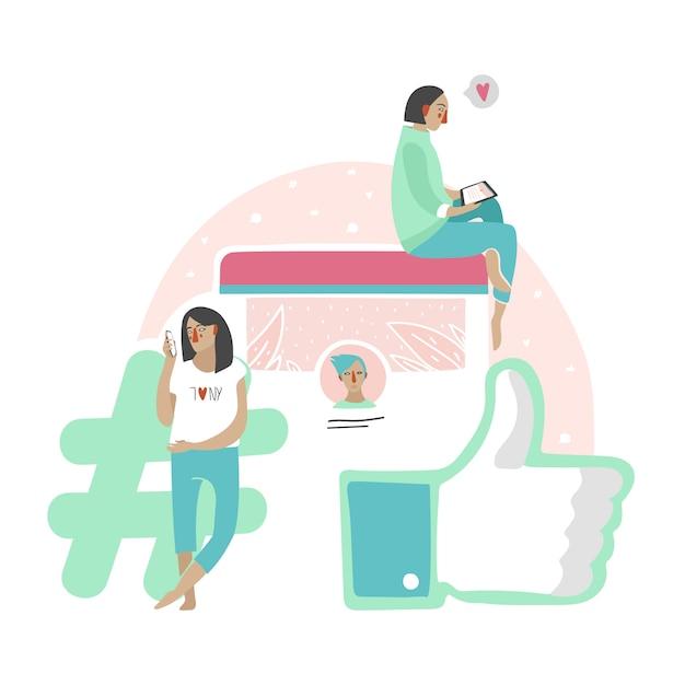 Ilustração social de uma comunicação da rede dos povos que texting o bate-papo ou que lêem o newsfeed. Vetor grátis