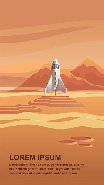 Ilustração space shuttle chegando no planeta vermelho Vetor Premium