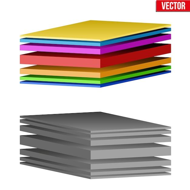 Ilustração técnica de um tecido multicamadas. demonstração da estrutura do material. ilustração em fundo branco Vetor Premium