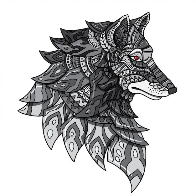 Ilustração tirada mão do lobo de zentangle da garatuja do vetor. Vetor Premium