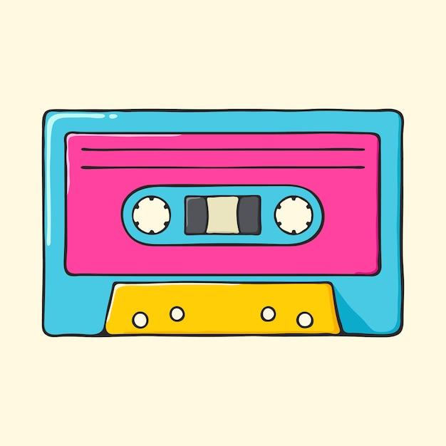 Ilustração tirada mão retro do estilo do pop art da cassete áudio. Vetor Premium