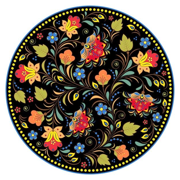Ilustração tradicional russa floral Vetor Premium