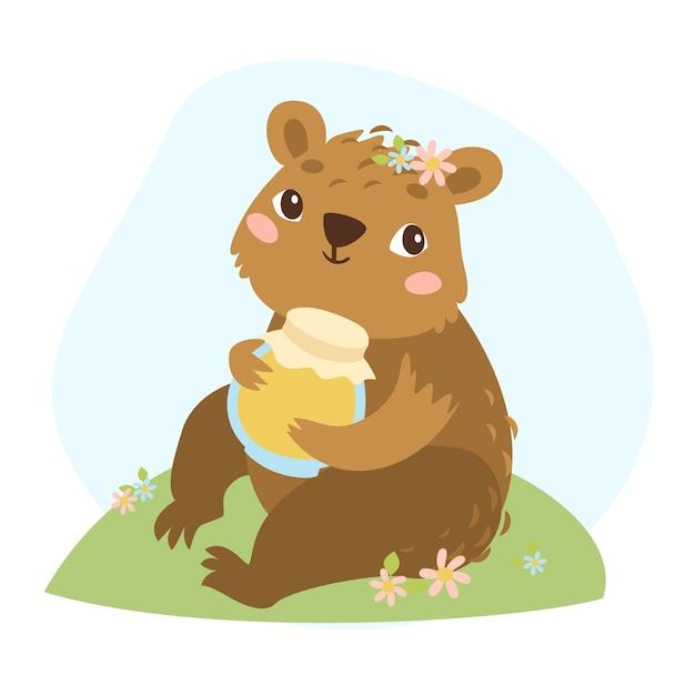 Ilustração urso e mel Vetor grátis