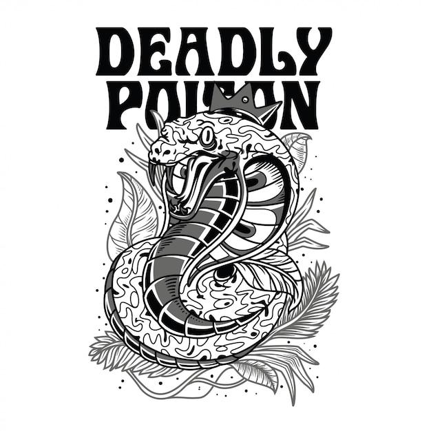 Ilustração venenosa mortal preto e branco Vetor Premium