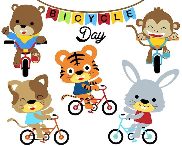 Ilustração vetorial com desenhos animados de ciclismo de animais Vetor Premium