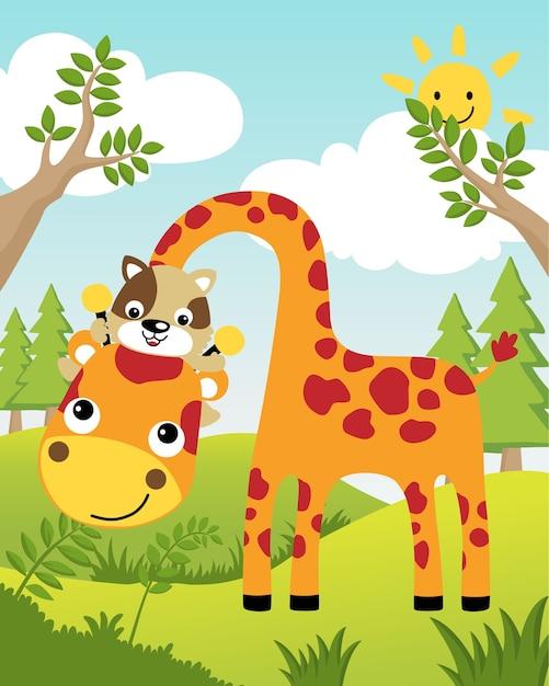 Ilustração vetorial com girafa e gato no verão Vetor Premium