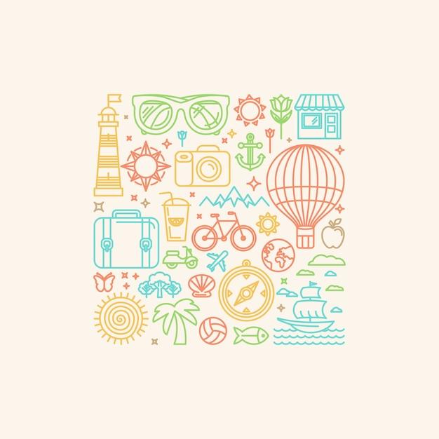 Ilustração vetorial com ícones do verão Vetor Premium