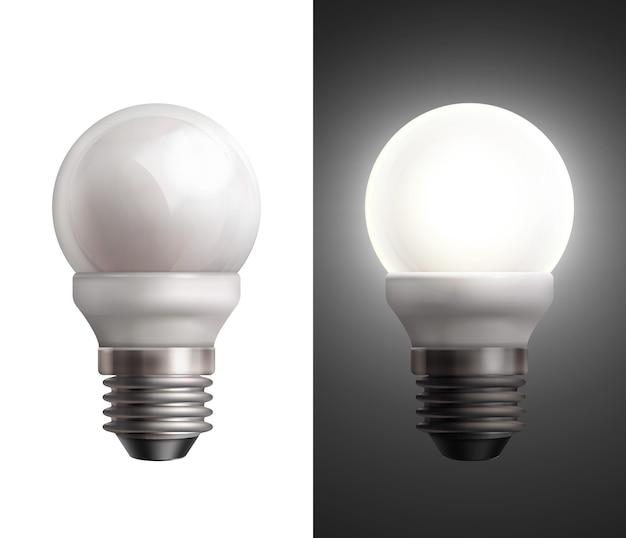 Ilustração vetorial com lâmpadas economizadoras de energia desligadas e brilhantes em fundo preto e branco Vetor grátis