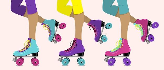 Ilustração vetorial com pernas femininas em patins retrô Vetor Premium