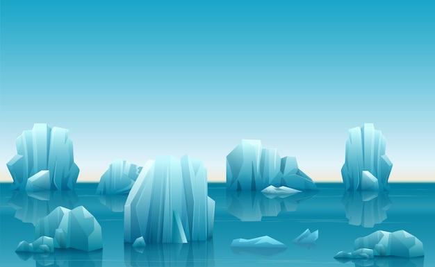 Ilustração vetorial da paisagem ártica de inverno com muitos icebergs e montanhas de neve Vetor Premium