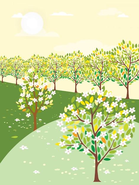 Ilustração vetorial da paisagem de primavera com árvore e bicicleta vintage em dia ensolarado Vetor Premium
