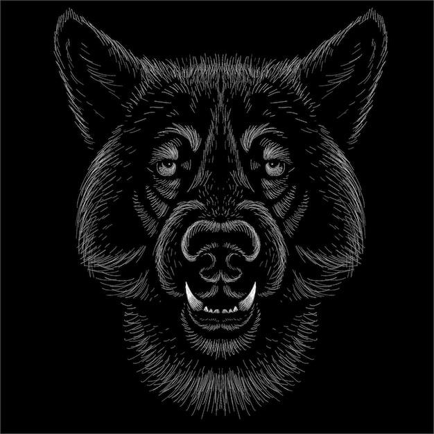 Ilustração vetorial de cão ou lobo Vetor Premium