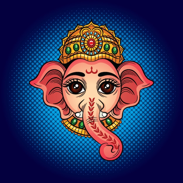 Ilustração vetorial de cor o deus indiano com uma cabeça de elefante. divindade indiana ganesh. Vetor Premium