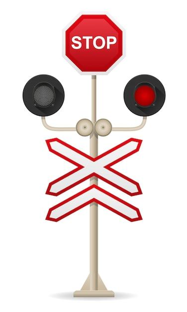 Ilustração vetorial de cruzamento de ferrovia Vetor Premium