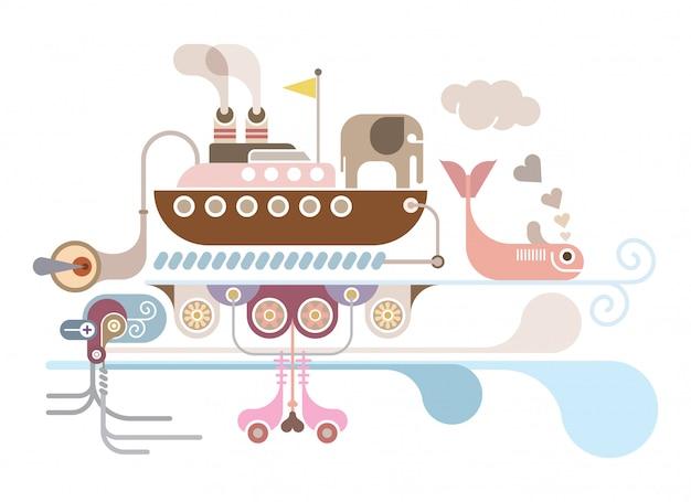 Ilustração vetorial de cruzeiro do oceano Vetor Premium