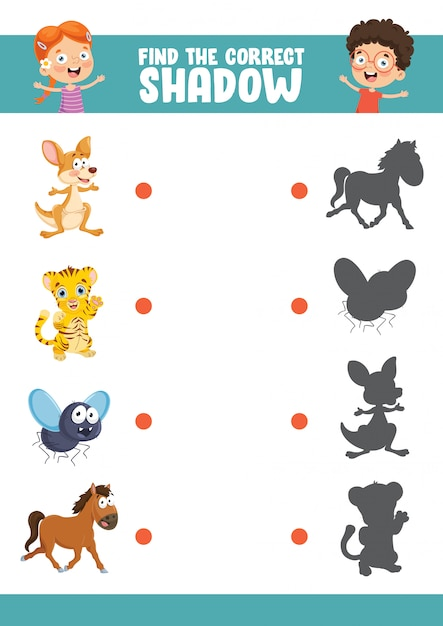Ilustração vetorial de encontrar o exercício de sombra correta Vetor Premium