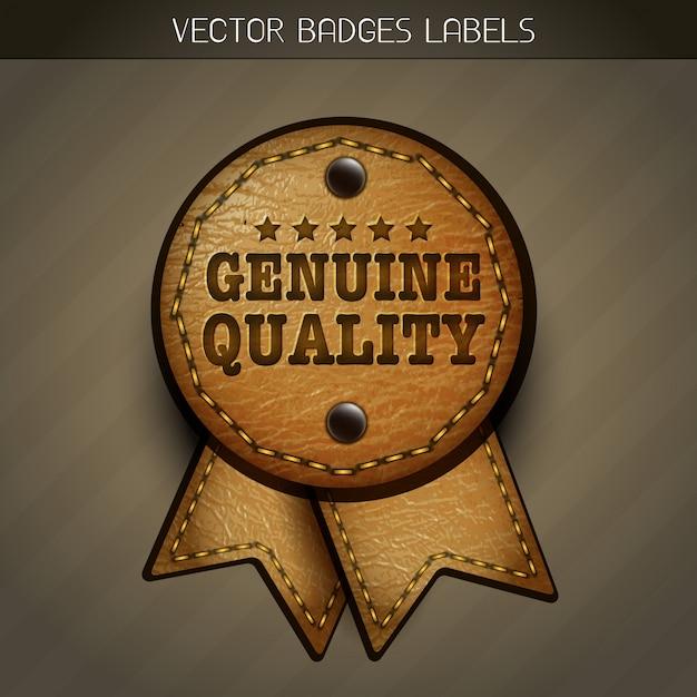 Ilustração vetorial de etiqueta de couro vetorial Vetor grátis
