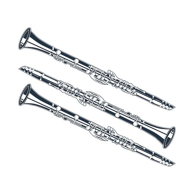 Ilustração vetorial de flauta isolada em um fundo branco Vetor Premium