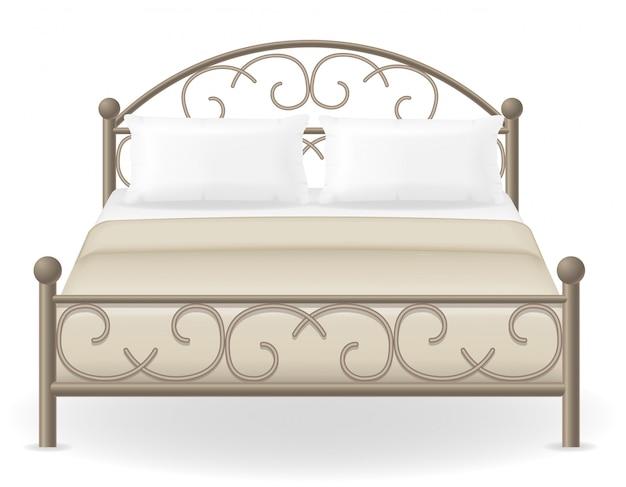 Ilustração vetorial de mobília de cama de casal Vetor Premium