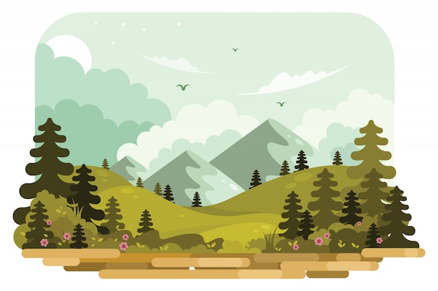Ilustração vetorial de paisagem de montanha Vetor Premium