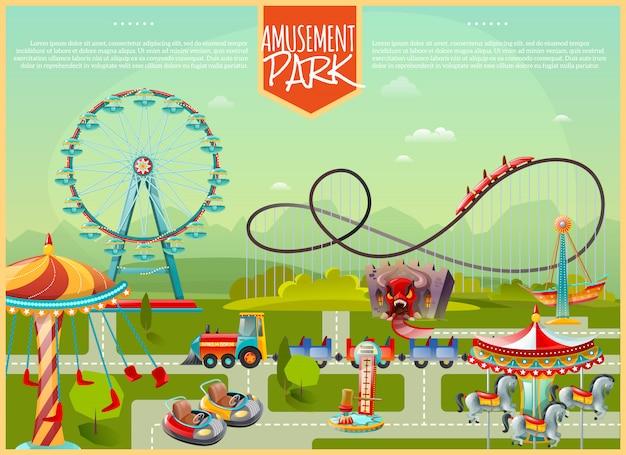 Ilustração vetorial de parque de diversões Vetor grátis