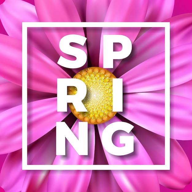 Ilustração vetorial de primavera com linda flor rosa Vetor Premium