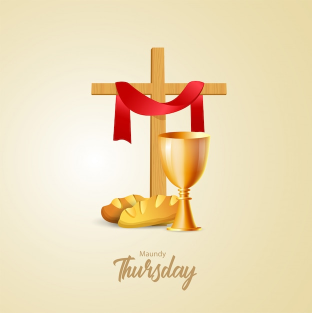 Ilustração vetorial de quinta-feira santa Vetor Premium