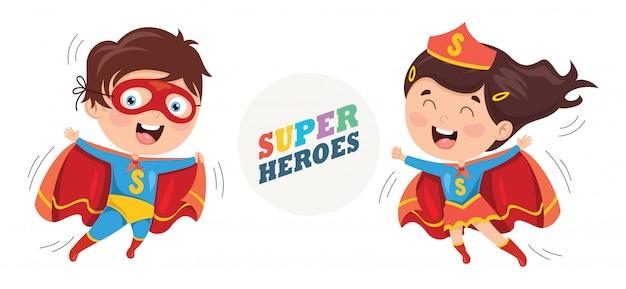Ilustração vetorial de super-heróis Vetor Premium