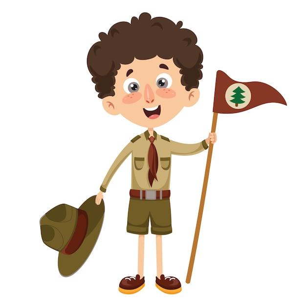 Ilustração vetorial de um garoto scout Vetor Premium