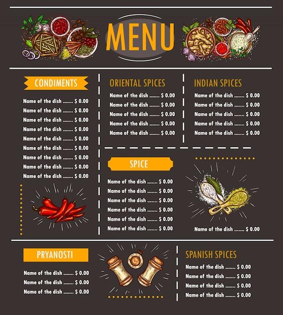 Ilustração vetorial de um menu com uma oferta especial de várias ervas, especiarias, temperos e condimentos Vetor grátis