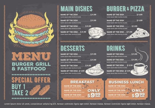 Ilustração vetorial de um menu de fast food de design, um café com gráficos desenhados à mão. Vetor grátis